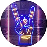 Rock n Roll Hand Heavy Metal Horn Band Dual Color LED Neon Sign Blue & Yellow 300 x 400mm st6s34-i2948-by