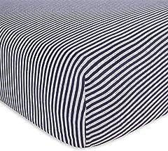 "Burt's Bees Baby Fitted Crib Sheet 100% Organic Cotton, W28"" x L52"", Navy Blue Stripe"