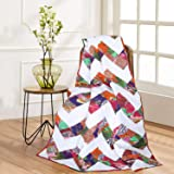 RAJRANG BRINGING RAJASTHAN TO YOU Patchwork Decorative Throw Blanket Multi Color Super Soft Warm Indian Vintage Quilt for Sof