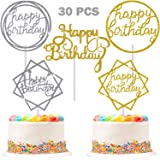 30 Pieces Glitter Happy Birthday Cake Topper Birthday Cupcake Topper Colorful Cake Decorations for Birthday Party Supply (Gol