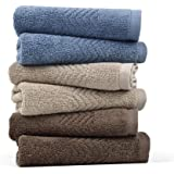 Cleanbear Cotton Washcloths (13 x 13 Inch) 6-Pack 3 Colors - Blue Grey Brown and Khaki