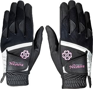 LEZAX(レザックス) レディース ゴルフグローブ Nicotera 用両手用合成皮革手袋 ブラック S(17-18cm) NTGL-3407 BK-S ブラック S