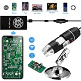 Jiusion WiFi USB Digital Handheld Microscope, 40 to 1000x Wireless Magnification Endoscope 8 LED Mini Camera with Phone Sucti