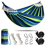 Anyoo Cotton Outdoor Garden Hammock with Wooden Spread Bars for 2 Person, Multiples Load Capacity Up to 450 Lbs Portable Comp