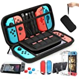 HEYSTOP Case Compatible with Nintendo Switch Carry Case 9 in 1 Pouch Switch Cover Case HD Switch Screen Protector Thumb Grips