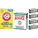 Laundry Soap Kit - Fels Naptha 4 bars, 20 Mule Team Borax Natural Laundry Booster, & Arm & Hammer Super Washing Soda