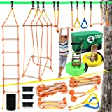 """Ninja Warrior Obstacle Course for Kids, Slackline Kit 50' with 8 Accessories - Monkey Bars, Gymnastics Rings, 68"""" Rope Ladder"""