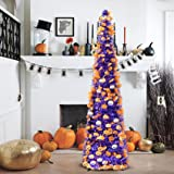 5' Purple Tinsel Pop-Up Artificial Halloween Christmas Tree, Decoracted Halloween Pumpkin Sequins,Collapsible Pencil Hallowee