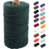 Deep Green Macrame Cord 3mm x 109yards, Colored Macrame Rope, 3 Strand Twisted Cotton Rope Macrame Yarn, Colorful Cotton Craf