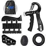 MABIZ Hand Grip Strengthener Workout Kit (5 Pack) - Forearm Trainer - Adjustable Resistance Hand Gripper, Finger Exerciser, F