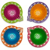 IndoTribe Festive Diyas Festive Decorations Oil Lamp Diwali Lights Clay Diyas for Diwali Tea Light Holder Indian Decor Diwali