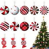 36 Pieces Christmas Wooden Peppermint Ornaments Candy Swirl Ornaments Red and White Candy Ornaments Swirl Candy Decorations f