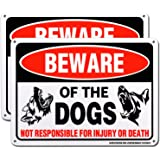 """HISVISION Beware of Dog Sign, 2 Pack 10""""x 7"""" Rust Free .40 Aluminum, UV Printed- Professional Graphics- Easy to Mount- Indoor"""