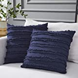 Longhui bedding Navy Blue Throw Pillow Covers for Couch Sofa Bed, Cotton Linen Decorative Pillows Cushion Covers, 20 x 20 inc