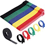 Cable Ties Reusable - Home-Mart 50 Pack 5 Color Cable Straps Multi-Purpose Tie Wraps Fastening Straps Used for Headphones Pho