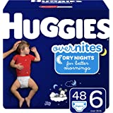 HUGGIES OverNites Diapers, Size 6 (35+ lb.), 48 ct, Overnight Diapers, Giga Jr Pack (Packaging May Vary)