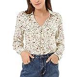Allegra K Women's Elegant V Neck Shirt Floral Faux Pocket Long Sleeve Blouse