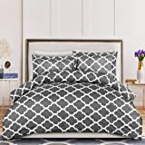 (Queen, Grey) - Printed Duvet-Cover-Set - Brushed Velvety Microfiber - Luxurious, Comfortable, Breathable, Soft & Extremely D