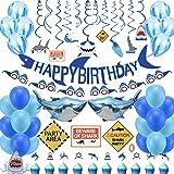 Shark Birthday Party Decorations,74pcs Shark Theme Birthday Party Supplies for Kids,Boys Include Shark Balloons,Shark Birthda