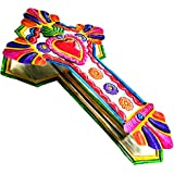 """Mexican Cross Art Wall Decor 12"""" x 7.5"""" Tin Folk Art Sacred Hearts Hand Painted Embossed Colorful Ornament Metal Charms Ex Vo"""