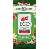 Ajax Eco Multipurpose Antibacterial Disinfectant Biodegradable Compostable Bamboo Household Grade Surface Cleaning Wipes Vani