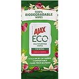 Ajax Eco Multipurpose Antibacterial Disinfectant Biodegradable Compostable Surface Cleaning Wipes Vanilla & Berries Bulk Pack