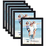 Icona Bay A4 Document Frames (Black, 6 Pack) Sturdy Wood Composite Certificate Frames, Sleek Diploma Frames Bulk, Table Top o