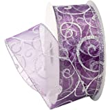 Morex Ribbon Swirl Wired Sheer Glitter Ribbon, 2-1/2-Inch by 50-Yard Spool, Purple/Silver