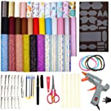 Faux Leather Bow Template Making Kit Include 5 Kinds of Faux Leather Sheets,Hair Clips,Scissor,Bow Template,Hot Melt Glue Gun