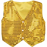 vastwit Boys Girls Kids Glittery Sequined Classic Shirt Vest Jacket Waistcoat Prom Jazz Street Dancing Stage Performance