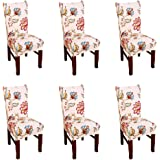 Argstar 2 Pack Chair Covers for Dining Room Spandex Slipcovers Pattern, Polyester & Polyester Blend, K_8, 6 pack