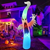 GOOSH 12 Foot Tall Halloween Inflatables Blow Up White Ghost with Hand-held Light for Inflatables Halloween Outdoor Yard Deco