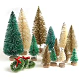 30 Pieces Miniature Sisal Frosted Christmas Trees Bottle Brush Mini Trees Plastic Tabletop Trees Ornaments for Christmas Room