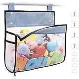 Bath Toy Organizer Multiple Ways to Hang, Extra Large Opening Bathroom Toy Holder, Bottom Zipper Bathtub Toy Storage Bag (Bla
