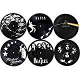 Our Casa Drink Coasters Mats | Retro Records Design of Music Legends | Bar Home Non-Slip Prevent Tabletop Damage Washable Set