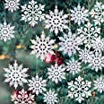 GuassLee 36 Pack Plastic White Snowflake Ornaments Christmas Winter Decorations, Hanging Snowflake Decorations for Winter Won