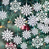 36 Pack Plastic White Snowflake Ornaments Christmas Winter Decorations, Hanging Snowflake Decorations for Winter Wonderland C