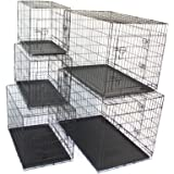 "Pet Dog Crate Metal Folding Cage Portable Kennel House Training Puppy Kitten Cat Rabbit with Removable Tray (XXL 48"")"