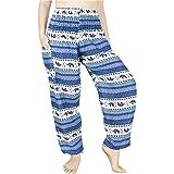 Lofbaz Women's Rayon Smocked Waist Flowy Hippie Boho Harem Pants