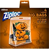 Ziploc Storage Bags, Double Zipper Seal & Expandable Bottom, Large, 4 Count, Big Bags with Halloween Designs