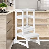 Kitchen Helper Stool for Toddlers,Wiifo Adjustable Height Kids Learning Stool, Kitchen Step Stool(White)