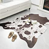 Rostyle Faux Cowhide Rug Cute Cow Hide Rug for Living Room Bedroom Western Home Decor Faux Fur Cow Print Rugs White and Brown