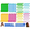 40PCS Hair Curlers Heatless Magic Hair Rollers Wave and Spiral Curl Former Two Styles(20inches) with 6PCS Styling Hooks Kit D