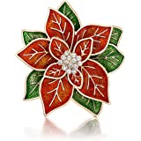 """RareLove Big Size 2.2"""" Pretty Red Green Poinsettia Flower Christmas Pins and Brooches CZ Rhinestone Crystal Brooch Pin Women"""