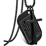 Jstyle Stainless Steel Dog Tags Cross Necklaces for Men Prayer Cross Necklace Military Rolo Chain 3mm 24 Inch