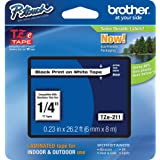 """Brother Genuine P-touch TZE-211 Label Tape 1, 1/4"""" (0.23"""") Standard Laminated P-touch Tape, Black on White, Laminated for Ind"""