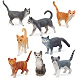 TOYMANY 8PCS Grey and Orange Cat Figurines, Realistic Small Cat Figures Toy Set, Kitten Educational Toy Easter Eggs Cake Topp