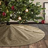 Meriwoods Plain Burlap Christmas Tree Skirt 48 Inch, Large Tree Collar for Personalized Handprint, Country Rustic Indoor Xmas