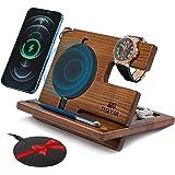 TESLYAR Wood Phone Docking Station Ash Key Holder Wallet Stand Watch Organizer Men Gift Husband Wireless Charging Pad Slim Bi