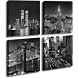 Yin Art New York City Canvas Print Black and White Brooklyn Bridge,Empire State Building Wall Art Modern Giclee Artwork 30x30